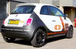 Autobelettering en carwrapping Fiat 500 SVK Benelux